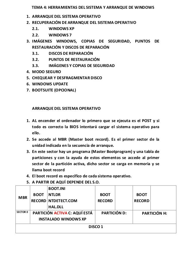 TEMA 4: HERRAMIENTAS DEL SISTEMA Y ARRANQUE DE WINDOWS 1. ARRANQUE DEL SISTEMA OPERATIVO 2. RECUPERACIÓN DE ARRANQUE DEL S...