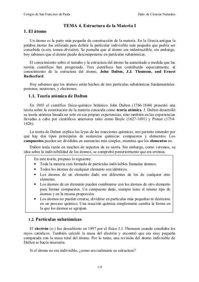 Tema 4 Estructura De La Materia I 15 16 2º Eso