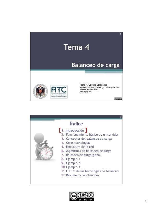 1 Balanceo de carga 1 Tema 4 Pedro A. Castillo Valdivieso Depto Arquitectura y Tecnología de Computadores Universidad de G...