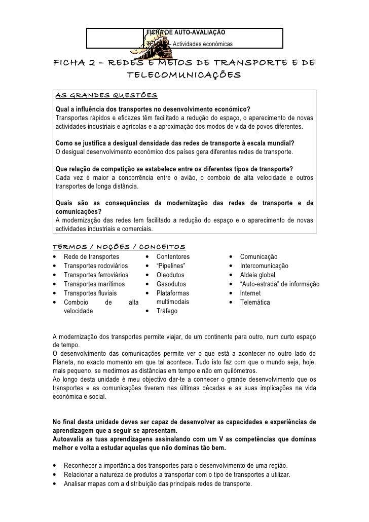 FICHA DE AUTO-AVALIAÇÃO                                  TEMA 4 – Actividades económicasFICHA 2 – REDES E MEIOS DE TRANSPO...