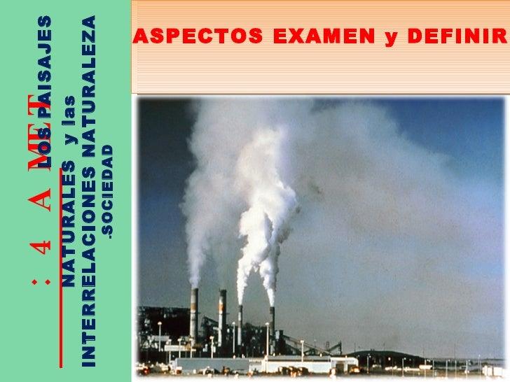 TEMA 4:  LOS PAISAJES NATURALES  y las INTERRELACIONES NATURALEZA  - SOCIEDAD ASPECTOS EXAMEN y DEFINIR
