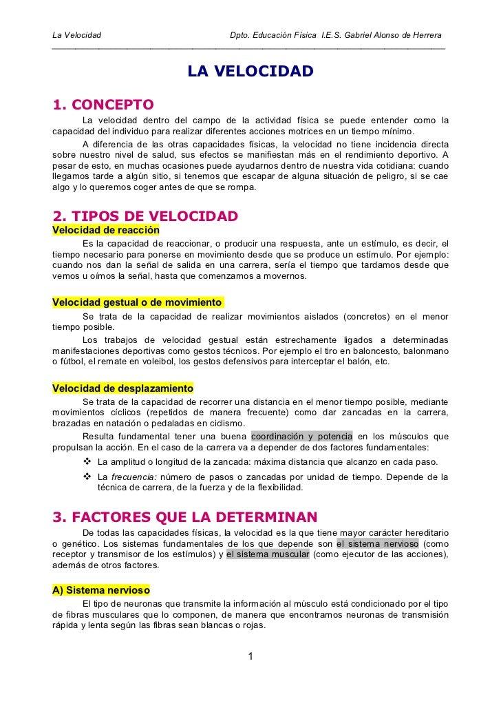 La Velocidad                          Dpto. Educación Física I.E.S. Gabriel Alonso de Herrera_____________________________...