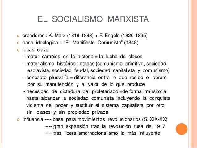 """EL SOCIALISMO MARXISTA  creadores : K. Marx (1818-1883) + F. Engels (1820-1895)  base ideológica = """"El Manifiesto Comuni..."""