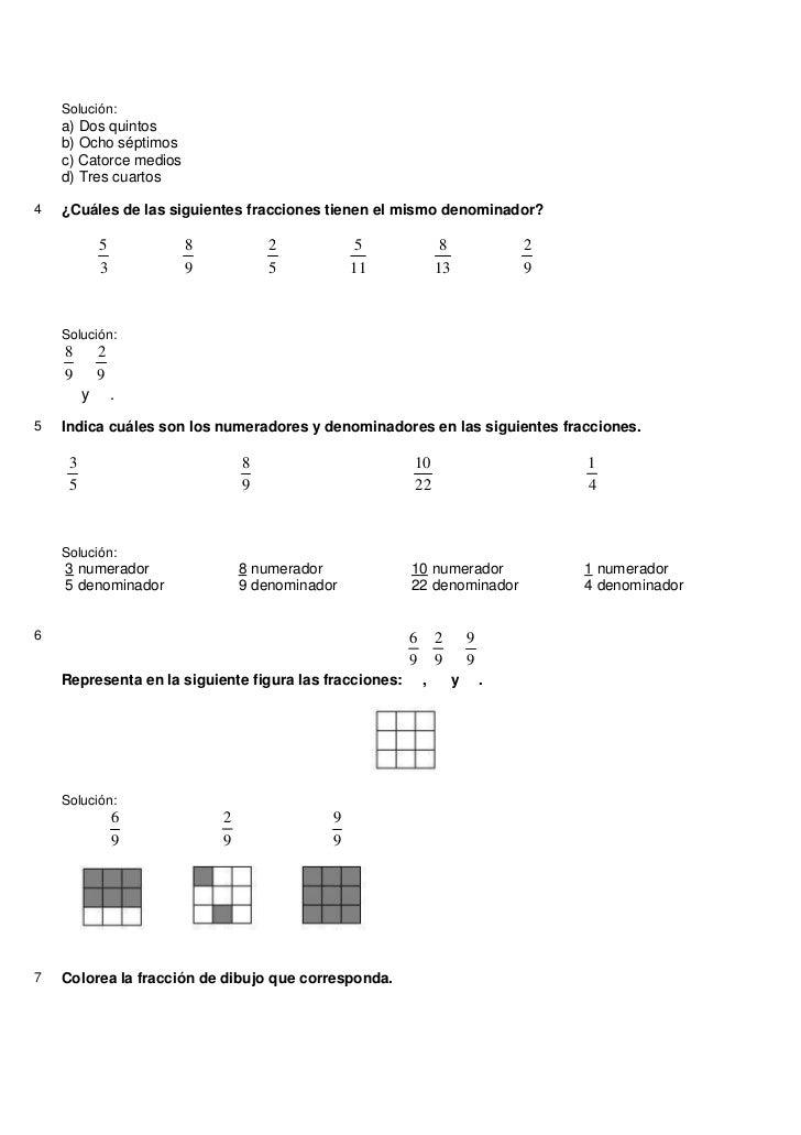 Tema 4 (5º) Actividades Fracciones + Solucionario