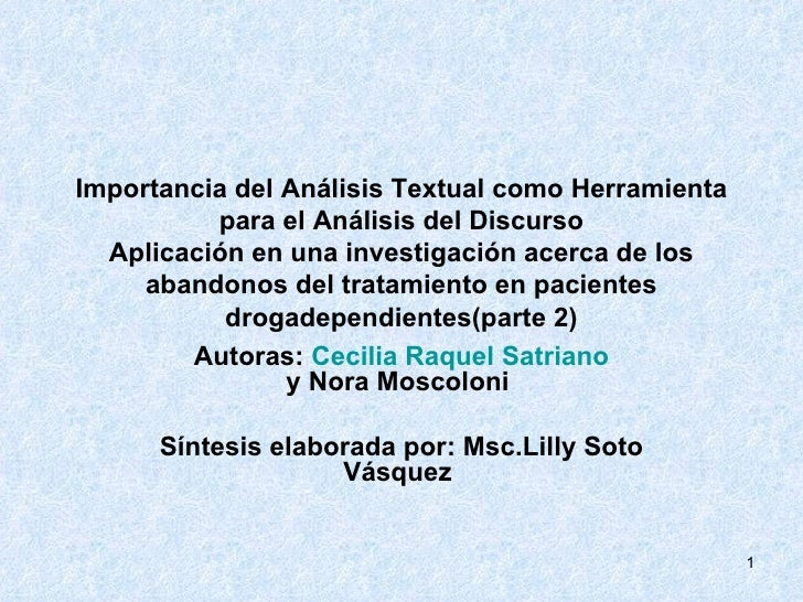 Importancia del Análisis Textual como Herramienta para el Análisis del Discurso Aplicación en una investigación acerca de ...
