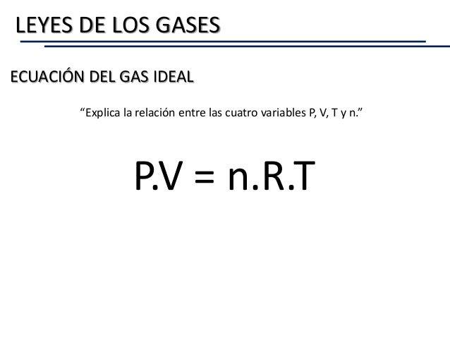 """LEYES DE LOS GASES ECUACIÓN DEL GAS IDEAL """"Explica la relación entre las cuatro variables P, V, T y n."""" P.V = n.R.T"""