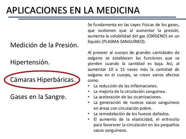 APLICACIONES EN LA MEDICINA Medición de la Presión. Hipertensión. Cámaras Hiperbáricas. Gases en la Sangre. Se fundamenta ...