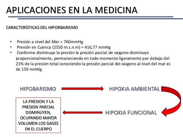 CARACTERÍSTICAS DEL HIPORBARISMO APLICACIONES EN LA MEDICINA • Presión a nivel del Mar = 760mmHg • Presión en Cuenca (2550...