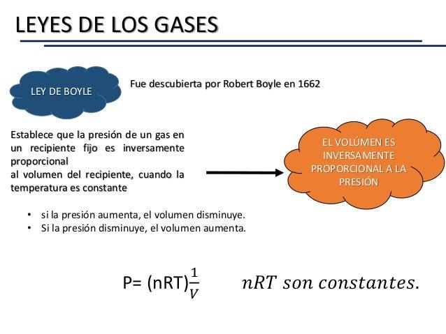 LEY DE BOYLE Fue descubierta por Robert Boyle en 1662 Establece que la presión de un gas en un recipiente fijo es inversam...