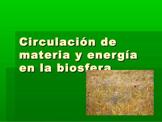 Circulación deCirculación de materia y energíamateria y energía en la biosferaen la biosfera