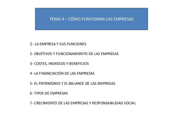 TEMA 4 – CÓMO FUNCIONAN LAS EMPRESAS 1- LA EMPRESA Y SUS FUNCIONES 2- OBJETIVOS Y FUNCIONAMIENTO DE LAS EMPRESAS 3- COSTES...