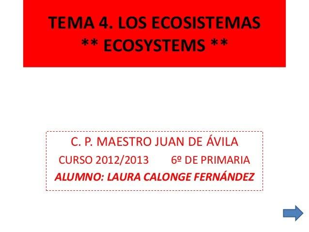 TEMA 4. LOS ECOSISTEMAS   ** ECOSYSTEMS **  C. P. MAESTRO JUAN DE ÁVILA CURSO 2012/2013  6º DE PRIMARIAALUMNO: LAURA CALON...