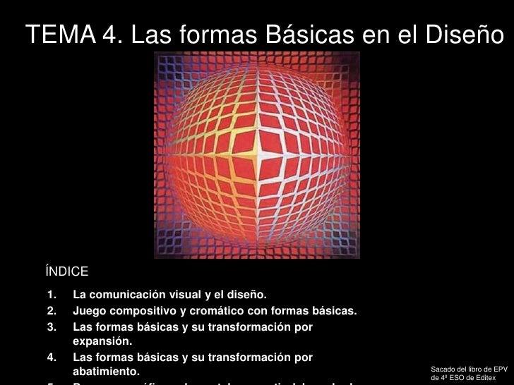 TEMA 4. Las formas Básicas en el Diseño<br />ÍNDICE<br />La comunicación visual y el diseño.  <br />Juego compositivo y cr...