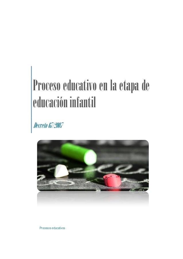 Proceso educativo en la etapa deeducación infantilDecreto 67/2007   Procesos educativos