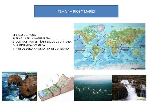 TEMA 4 – RIOS Y MARES  EL CICLO DEL AGUA 1- EL AGUA EN LA NATURALEZA 2- OCÉANOS, MARES, RÍOS Y LAGOS DE LA TIERRA 3- LA DI...