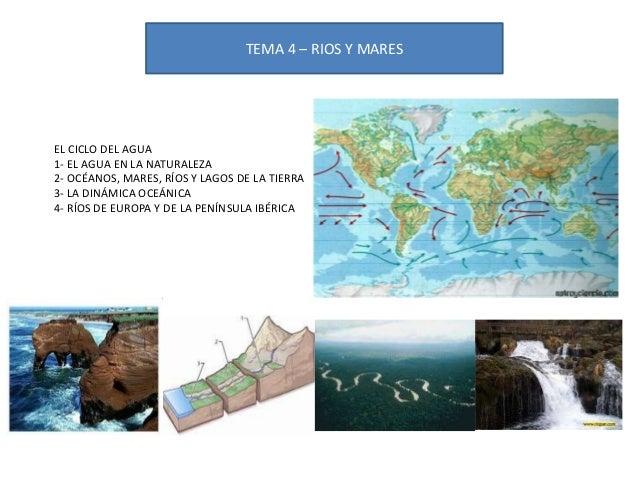 TEMA 4 – RIOS Y MARES EL CICLO DEL AGUA 1- EL AGUA EN LA NATURALEZA 2- OCÉANOS, MARES, RÍOS Y LAGOS DE LA TIERRA 3- LA DIN...
