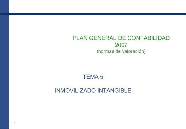1 PLAN GENERAL DE CONTABILIDAD 2007 (normas de valoración) TEMA 5 INMOVILIZADO INTANGIBLE