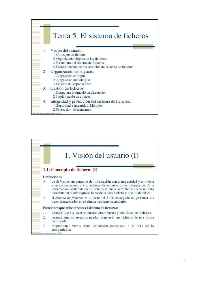 Tema 5. El sistema de ficheros                 1.           Visión del usuario.                                  1. Concep...