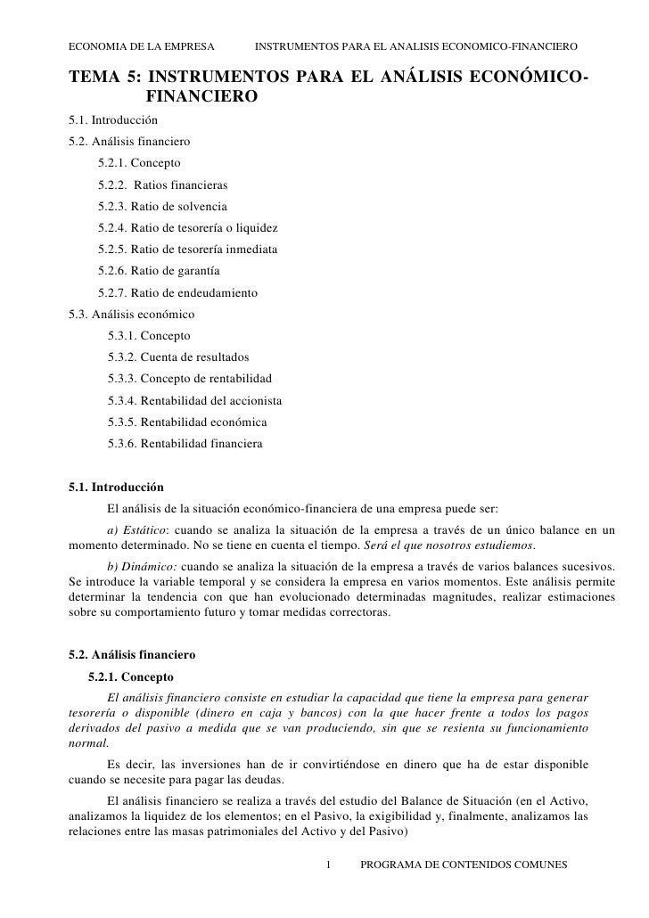 ECONOMIA DE LA EMPRESA               INSTRUMENTOS PARA EL ANALISIS ECONOMICO-FINANCIEROTEMA 5: INSTRUMENTOS PARA EL ANÁLIS...