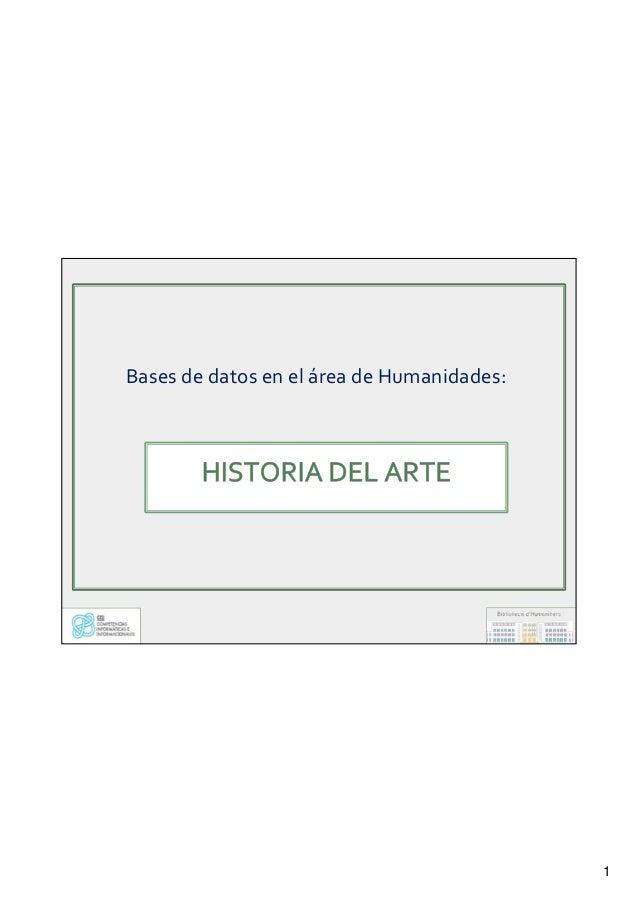 1 Bases de datos en el área de Humanidades: