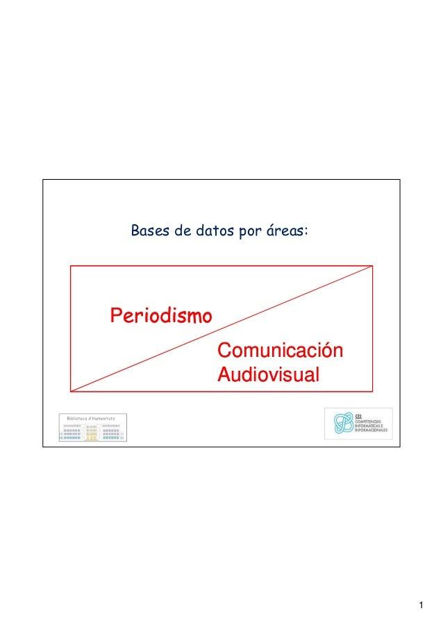 1 Bases de datos por áreas: Periodismo Comunicación Audiovisual Periodismo Comunicación Audiovisual