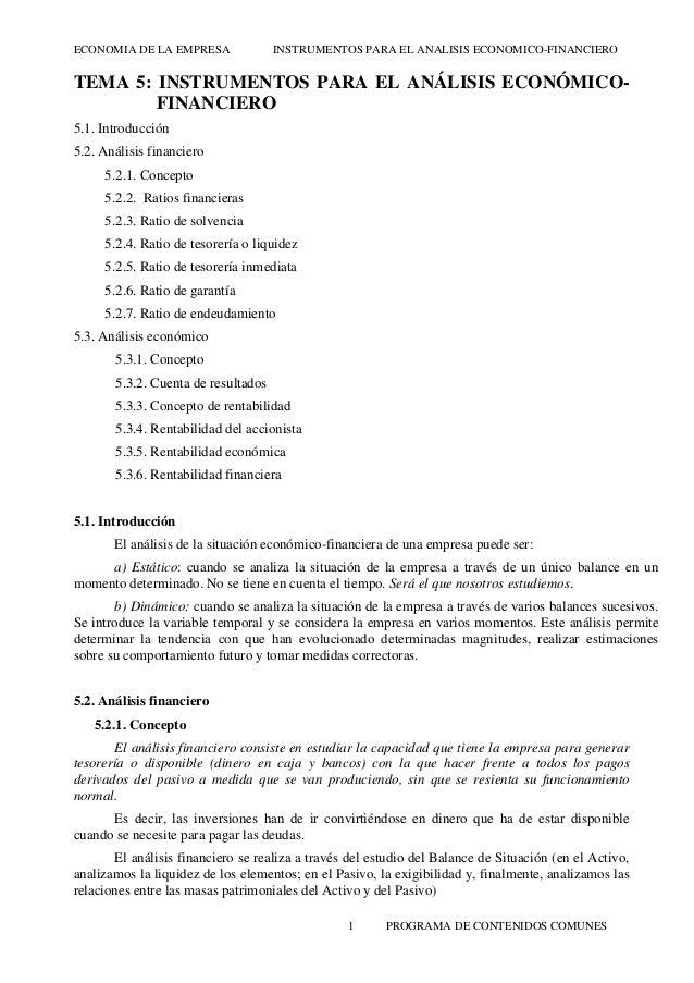 ECONOMIA DE LA EMPRESA  INSTRUMENTOS PARA EL ANALISIS ECONOMICO-FINANCIERO  TEMA 5: INSTRUMENTOS PARA EL ANÁLISIS ECONÓMIC...