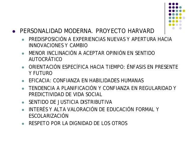PERSONALIDAD MODERNA. PROYECTO HARVARD PREDISPOSICIÓN A EXPERIENCIAS NUEVAS Y APERTURA HACIA INNOVACIONES Y CAMBIO MENOR I...