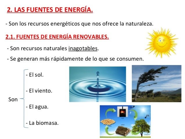 El origen de estas fuentes de energía es el sol. El sol calienta la Tierra el sol pone en marcha el ciclo del agua origina...