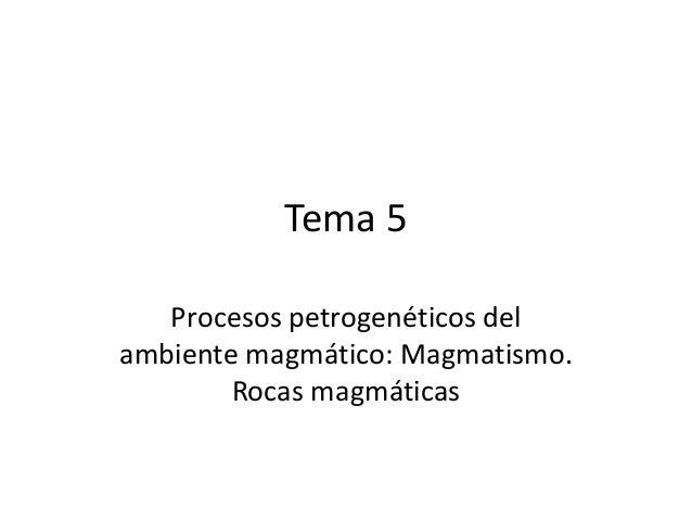 Tema 5 Procesos petrogenéticos del ambiente magmático: Magmatismo. Rocas magmáticas