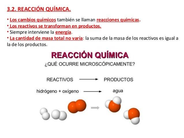 3.2. REACCIÓN QUÍMICA. • Los cambios químicos también se llaman reacciones químicas. • Los reactivos se transforman en pro...