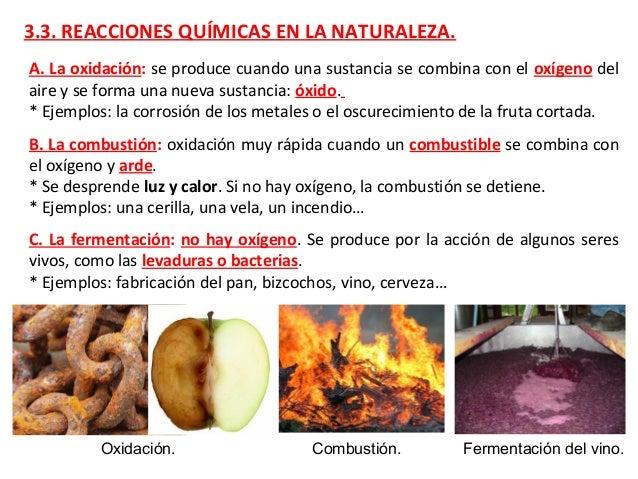 3.3. REACCIONES QUÍMICAS EN LA NATURALEZA. B. La combustión: oxidación muy rápida cuando un combustible se combina con el ...