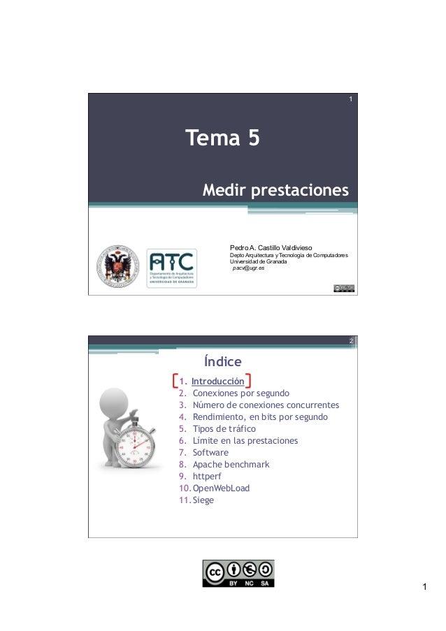 1 Medir prestaciones 1 Tema 5 Pedro A. Castillo Valdivieso Depto Arquitectura y Tecnología de Computadores Universidad de ...