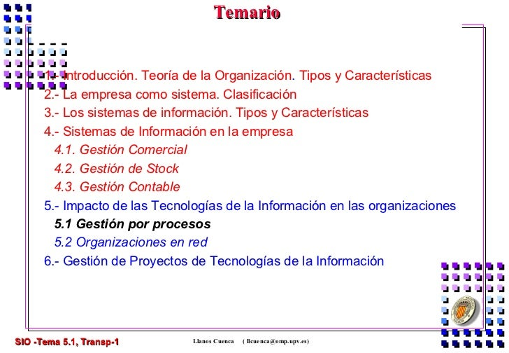 Temario                            Gestión Por Procesos      1.- Introducción. Teoría de la Organización. Tipos y Caracter...