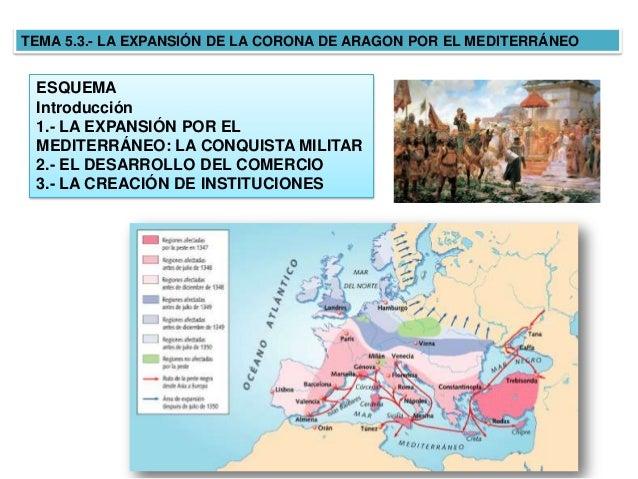 TEMA 5.3.- LA EXPANSIÓN DE LA CORONA DE ARAGON POR EL MEDITERRÁNEO ESQUEMA Introducción 1.- LA EXPANSIÓN POR EL MEDITERRÁN...