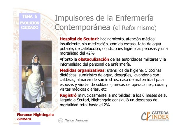 Impulsores de la Enfermería Contemporánea (el Reformismo) Hospital de Scutari: hacinamiento, atención médica insuficiente,...
