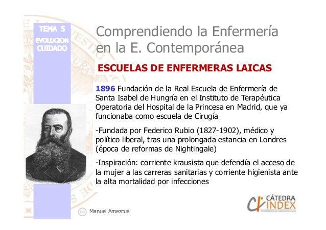 Comprendiendo la Enfermería en la E. Contemporánea 1896 Fundación de la Real Escuela de Enfermería de Santa Isabel de Hung...