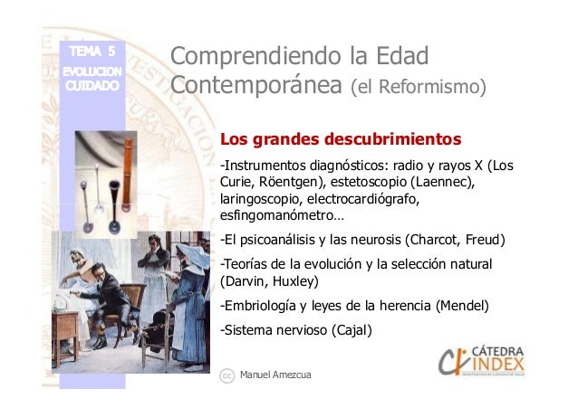 Comprendiendo la Edad Contemporánea (el Reformismo) Los grandes descubrimientos -Instrumentos diagnósticos: radio y rayos ...