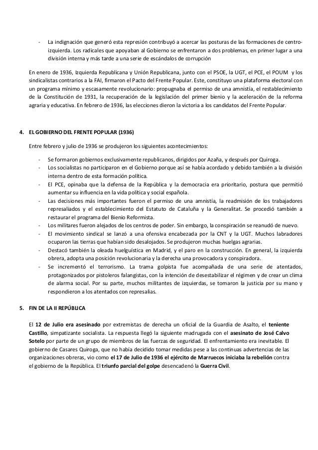 La Ii República Tema Historia Selectividad