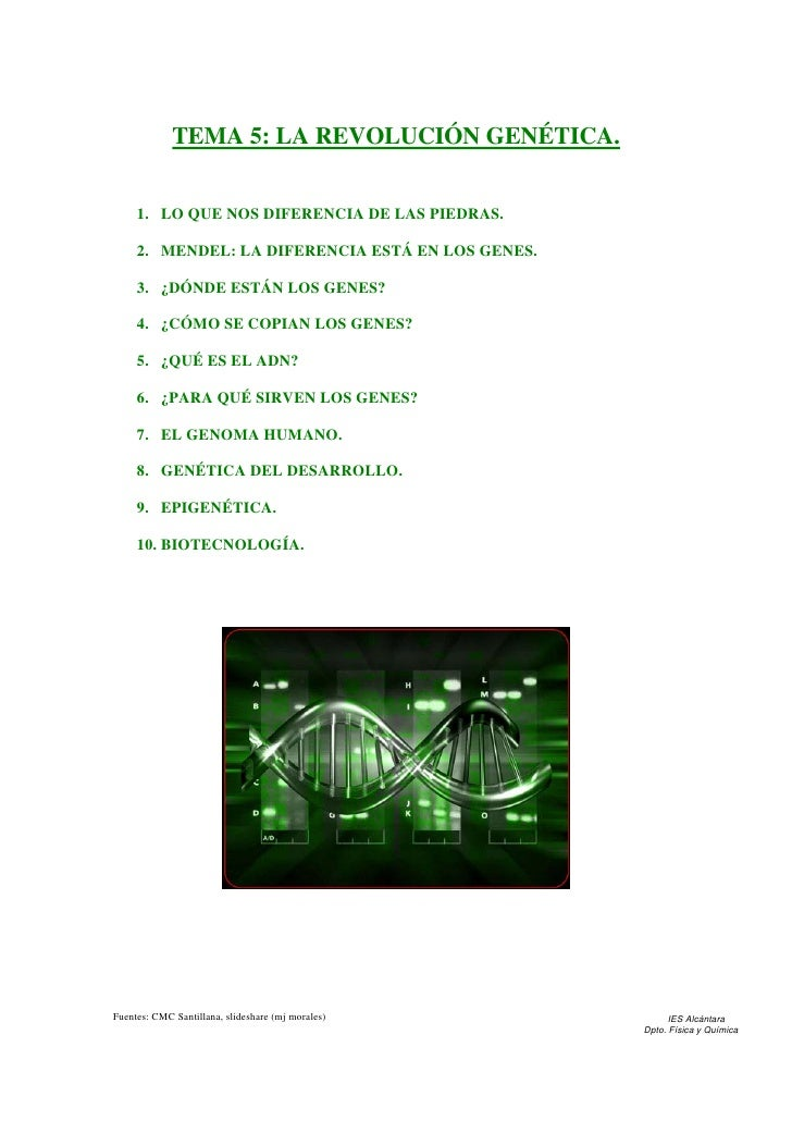 TEMA 5: LA REVOLUCIÓN GENÉTICA.     1. LO QUE NOS DIFERENCIA DE LAS PIEDRAS.     2. MENDEL: LA DIFERENCIA ESTÁ EN LOS GENE...