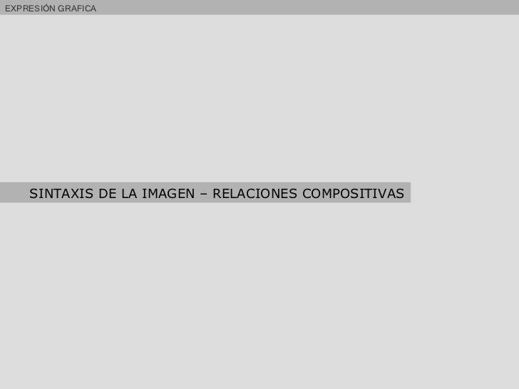 EXPRESIÓN GRAFICA SINTAXIS DE LA IMAGEN – RELACIONES COMPOSITIVAS