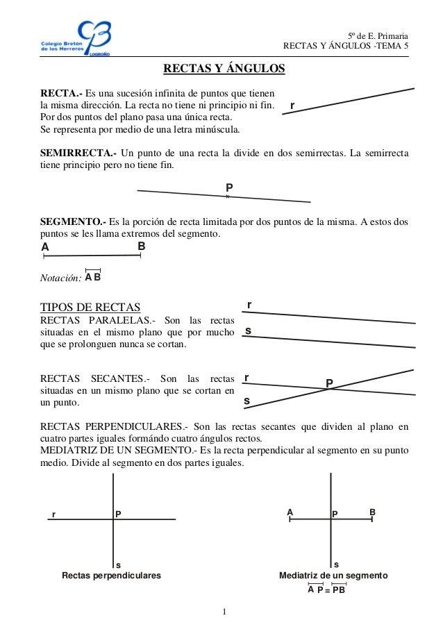 5º de E. PrimariaRECTAS Y ÁNGULOS -TEMA 51RECTAS Y ÁNGULOSRECTA.- Es una sucesión infinita de puntos que tienenla misma di...