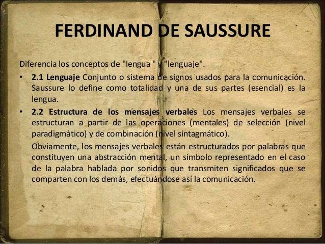 """FERDINAND DE SAUSSURE Diferencia los conceptos de """"lengua """" y """"lenguaje"""". • 2.1 Lenguaje Conjunto o sistema de signos usad..."""