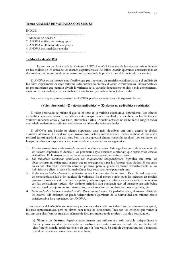 Ignacio Martín Tamayo 25 Tema: ANÁLISIS DE VARIANZA CON SPSS 8.0 ÍNDICE --------------------------------------------------...