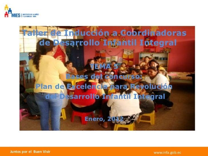 Taller de Inducción a Coordinadoras          de Desarrollo Infantil Integral                             TEMA 5           ...