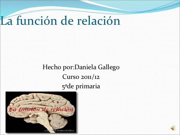 La función de relación       Hecho por:Daniela Gallego             Curso 2011/12            5ºde primaria
