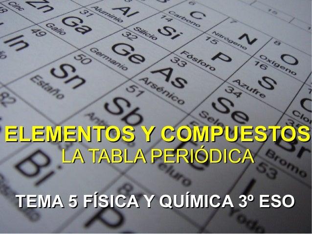 elementos y compuestoselementos y compuestosla tabla peridicala tabla peridicatema 5 fsica y qumica 3 esotema 5 elementossustancias - Tabla Periodica Con Nombres Hd