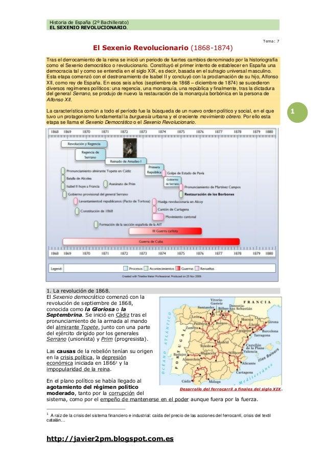 Historia de España (2º Bachillerato) EL SEXENIO REVOLUCIONARIO. http://javier2pm.blogspot.com.es 1 Tema: 7 El Sexenio Revo...