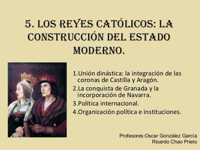 5. Los Reyes CatóLiCos: La  ConstRuCCión deL estado  ModeRno.  1.Unión dinástica: la integración de las  coronas de Castil...