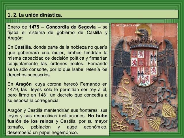 1. 2. La unión dinástica.  Enero de 1475 – Concordia de Segovia – se  fijaba el sistema de gobierno de Castilla y  Aragón:...