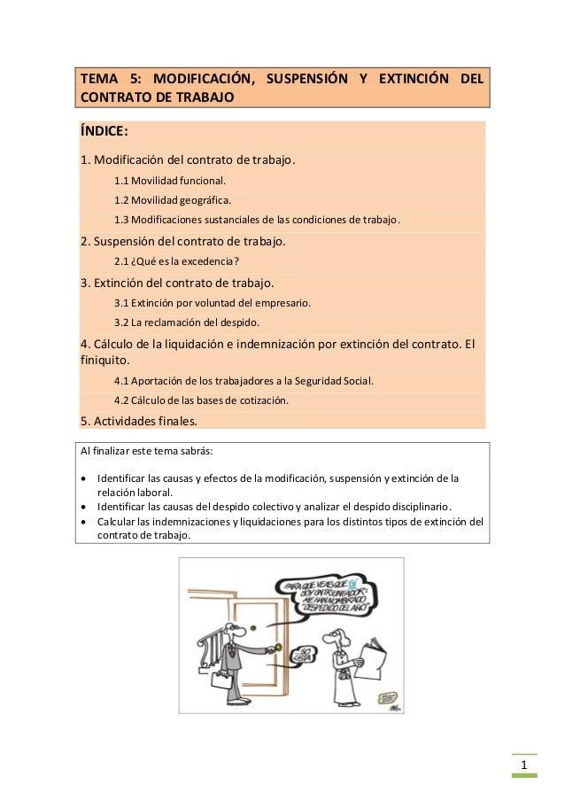 Tema 5 Modificaci N Suspensi N Y Extinci N Del Contrato